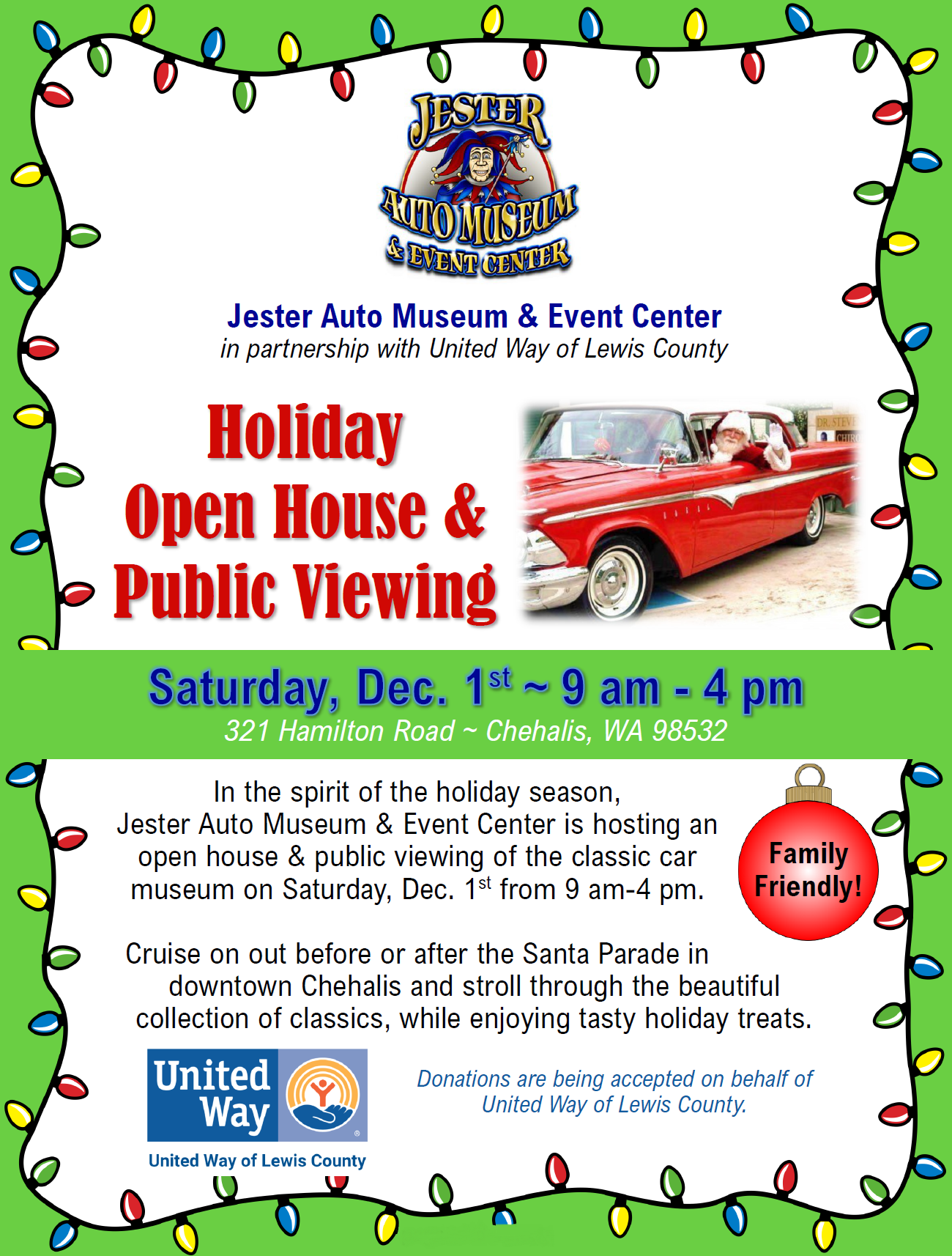 Chehalis Auto Center >> Jester Auto Museum Event Center Partnering With United Way